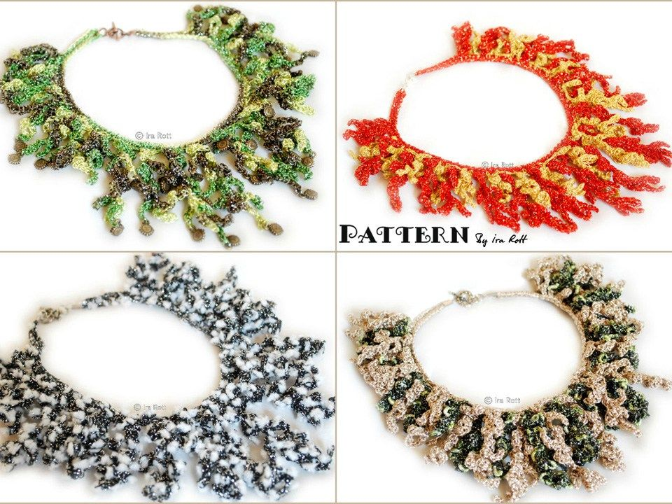 Free PDF Pattern for making a Crochet Coral Reef Necklace Jewelry ...