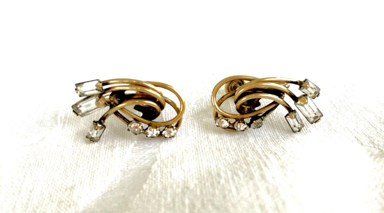 Rhinestone Earrings, Baguette Stones, Vintage Carl Art, Gold Filled Screwback Earrings, Designer Signed, Holiday Earrings