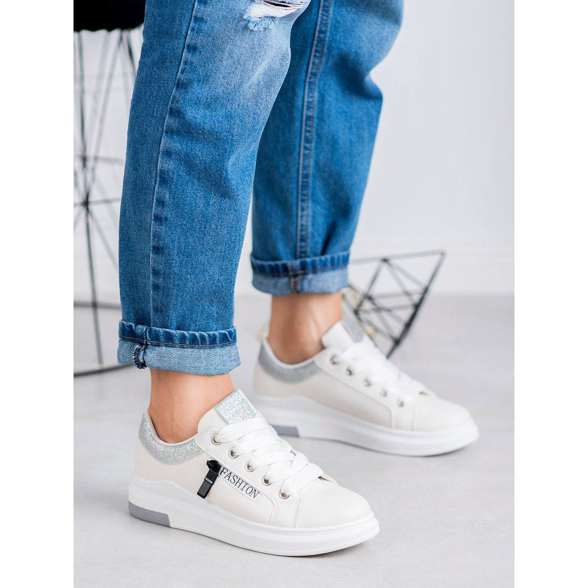 Shelovet Buty Sportowe Fashion Biale Shoes White Sneaker Sneakers