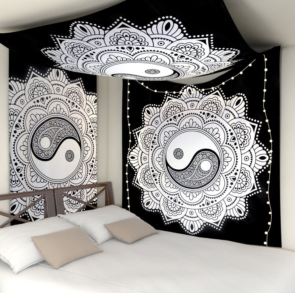 Black And White Wall Hanging Tapestry Yin Yang Wall Tapestries Dorm Decor Wall Tapestries Dorm Room Tapestry Mandala Tapestries Wall Hangings