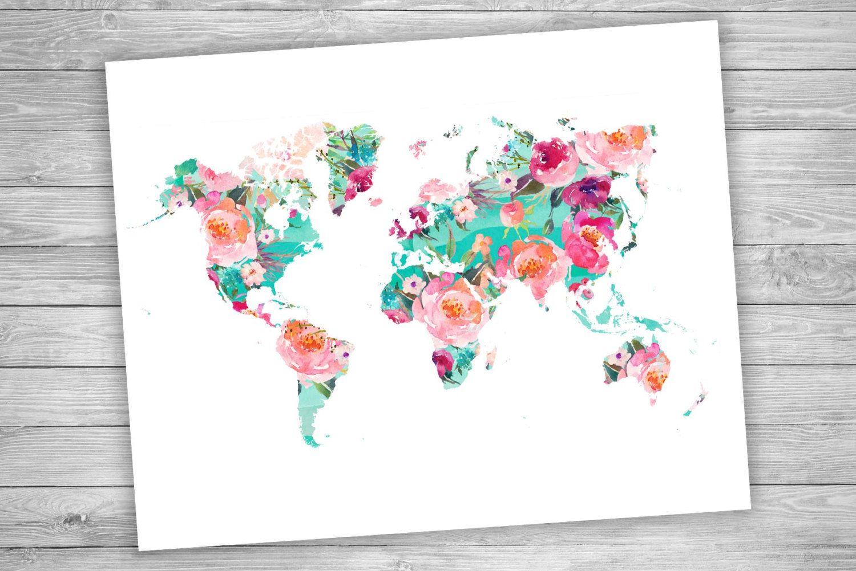 World map printable art wanderlust floral watercolor world map printable art world map floral watercolor world map geography print travel decor gumiabroncs Choice Image
