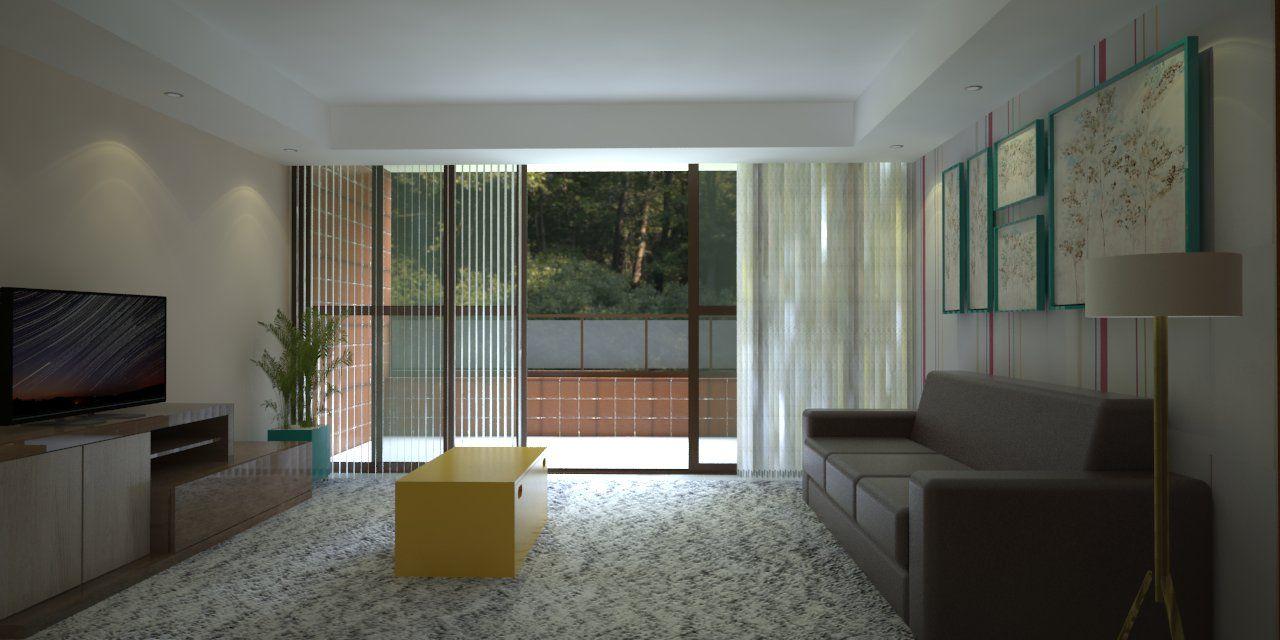 Sala de Estar - Opção 1 Projeto: Jonathas Barros Modelagem: Sketchup Pro 2015 Render: V-ray 2.0