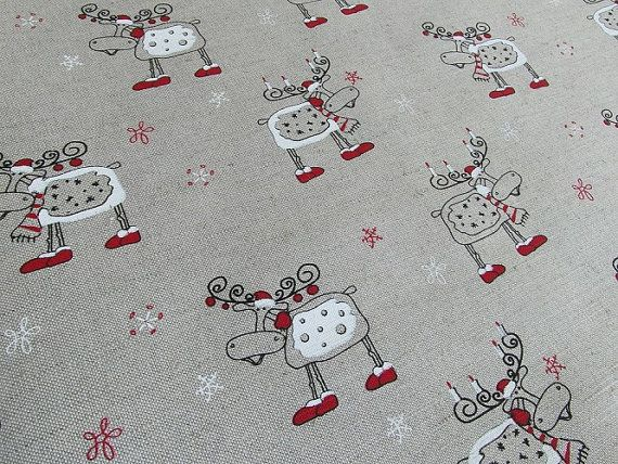 Linen Deer Fabric Print Quilt Natural Cotton