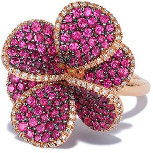 Effy Jewelry Effy Nature 14K Rose Gold Ruby and Diamond Flower Ring, 2.24 TCW