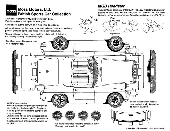 Playing And Crafting Mgb Roadster Roadsters British Sports Cars Paper Models