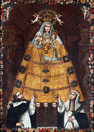 Nuestra Senora Del Rosario Con Santo Domingo Y Santa Rosa Anonimo Escuela Cusquena 1750 Oleo Sobre Lienzo Museo Produccion Artistica Arte Peruano Cuzqueno