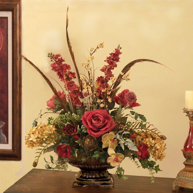 Flower Arrangements For Home Decor: Burgundy And Moss Silk Floral Design