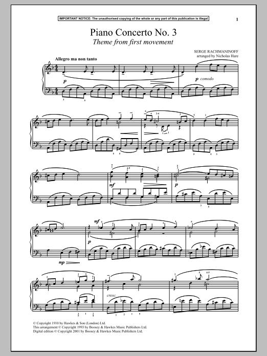 Sergei Rachmaninoff Piano Concerto No 3 First Movement Theme Sheet Music And Printable Pdf Music Notes Rachmaninoff Sheet Music Notes Song Sheet