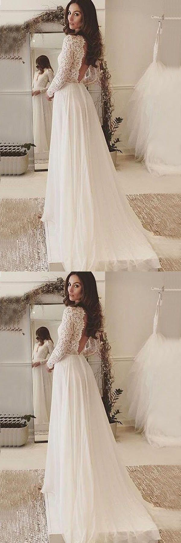 Excellent wedding dresses vneck long sleeves backless ivory