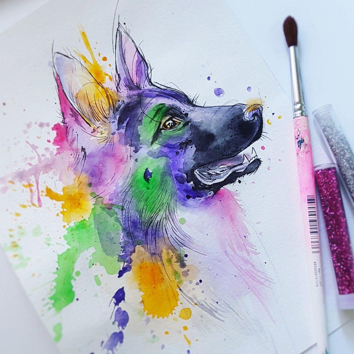 Эскиз тату татуировки собака немецкая овчарка акварель ...