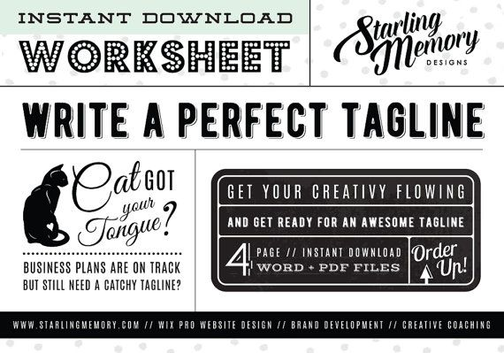 Diy Tagline Writing Worksheet  Business Writing  Business