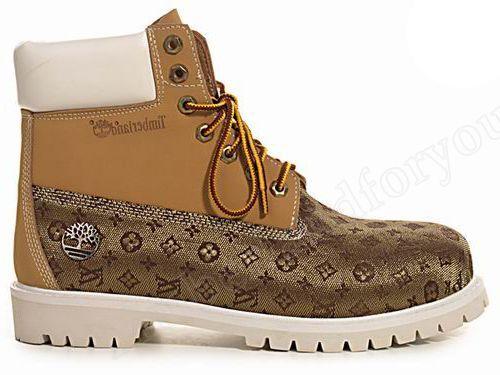 b79dd79eba Timberland Mens Custom Louis Vuitton Wheat White   Louis Vuitton ...