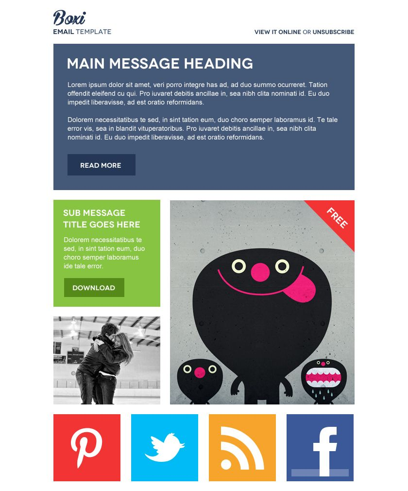 Boxi Email Newsletter Psd Theme  Best Psd Freebies  Email Design