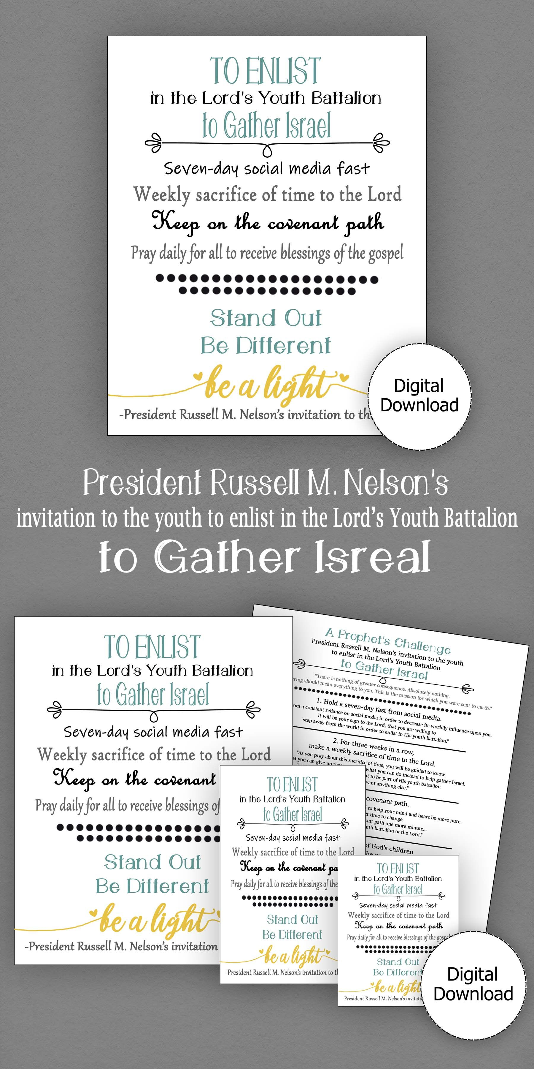 Russell M Nelson S Invitation To The Youth To Gather Israel Printable Instant Download