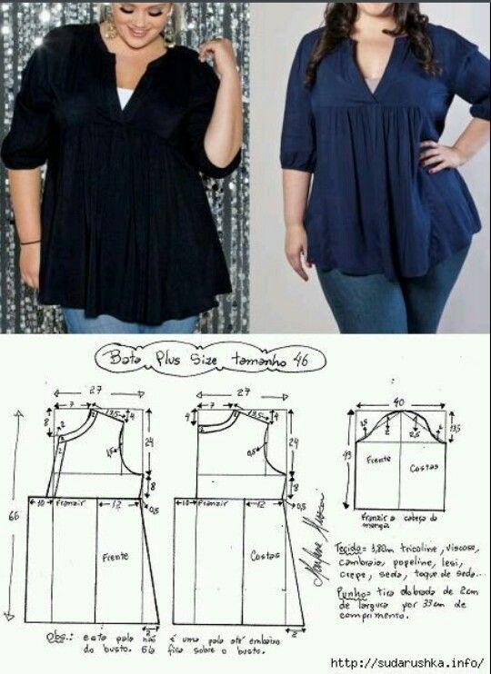 Patrón blusa plus sise | molde | Pinterest | Costura, Ropa y Vestidos