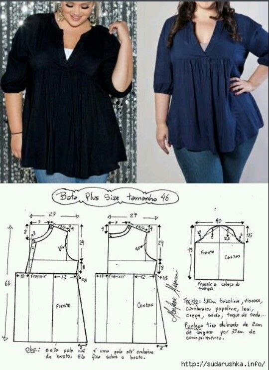 Patrón blusa plus sise | patrones | Pinterest | Nähen, Stricken y ...