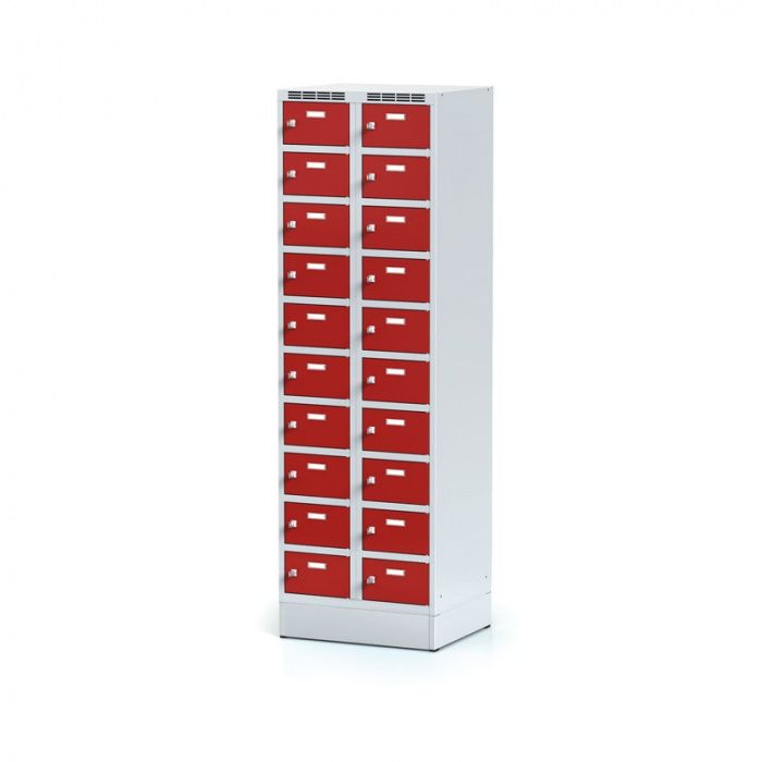 Cabinet with boxes on the plinth, 20 boxes, red door, cylindrical …