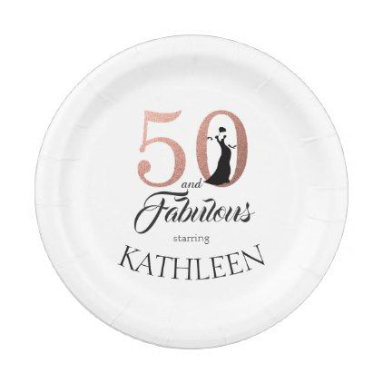 50 and Fabulous Pink Custom Name Birthday Party Paper Plate - #customize create your own  sc 1 st  Pinterest & 50 and Fabulous Pink Custom Name Birthday Party Paper Plate ...