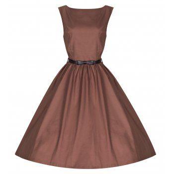 size 20, please, Audrey Cognac Swing Dress | Vintage Inspired Fashion - Lindy Bop