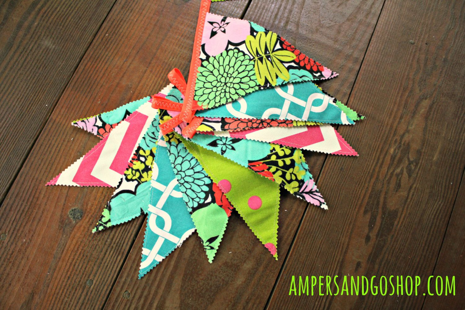 Neon boho party banner summer love fabric flags calypso party