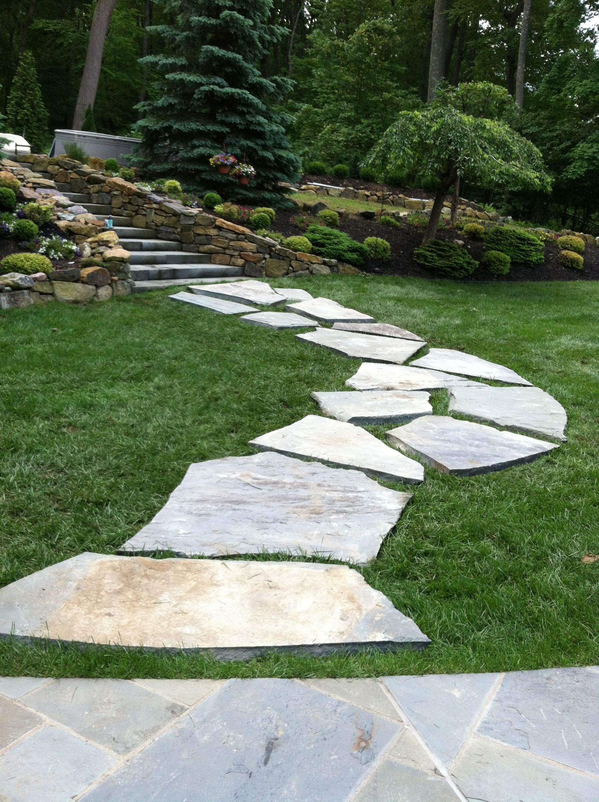 stone walkway gardening
