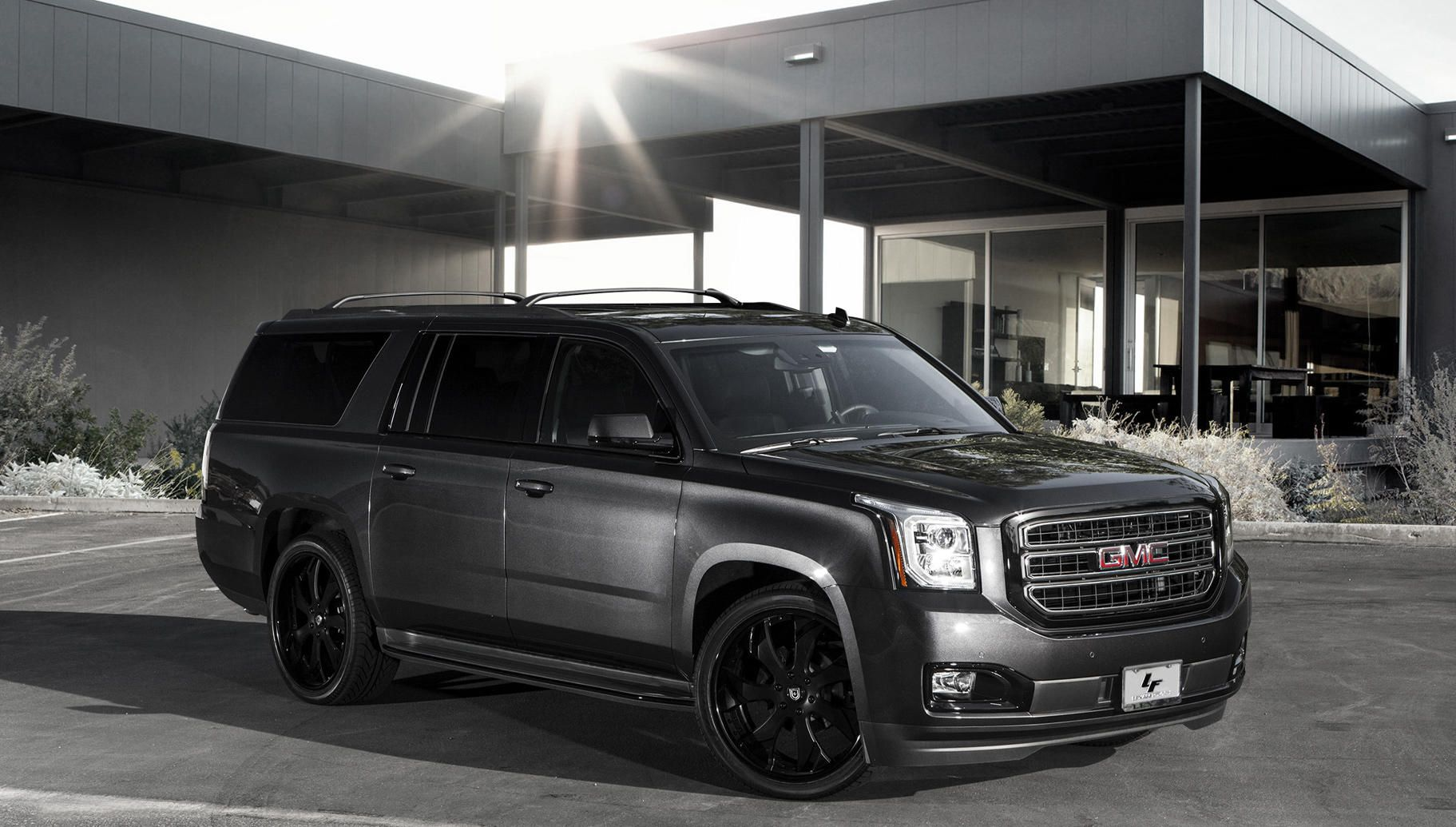 Lexani Wheels The Leader In Custom Luxury Wheels Full Black Lf 721 On The 2015 Gmc Yukon Gmc Yukon Gmc Yukon Denali