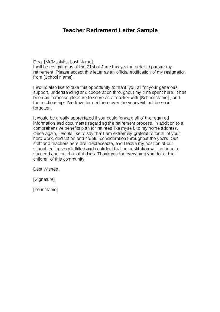 sample retirement letter