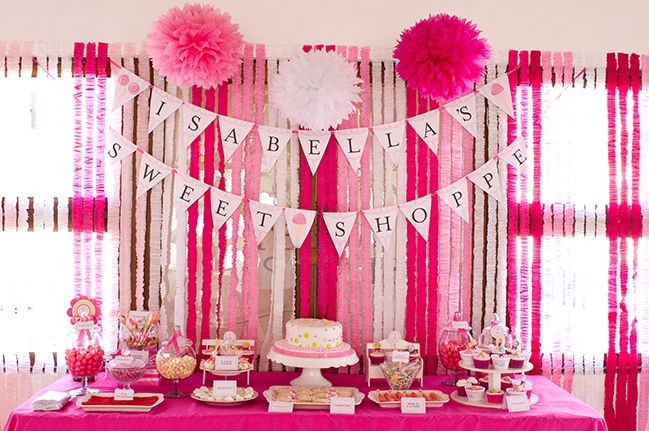 Sweet Shoppe party Isabella is 1 Streamers Pink white and Buntings
