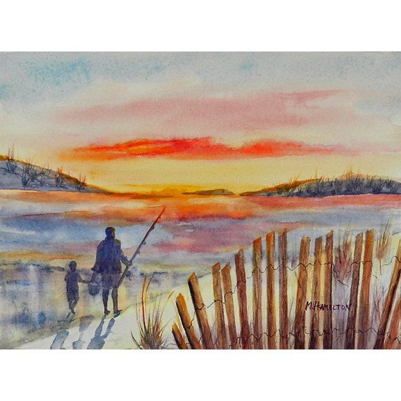 Beach Landscape With Fishermen: Father And Small Son Are Going Fishing At Sunrise. Beach