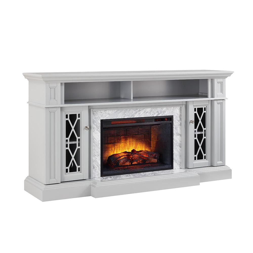 Home Decorators Collection Parkbridge 68 In Freestanding Infrared Electric Fireplace Tv Stand In G Fireplace Tv Stand Electric Fireplace Tv Stand Fireplace Tv