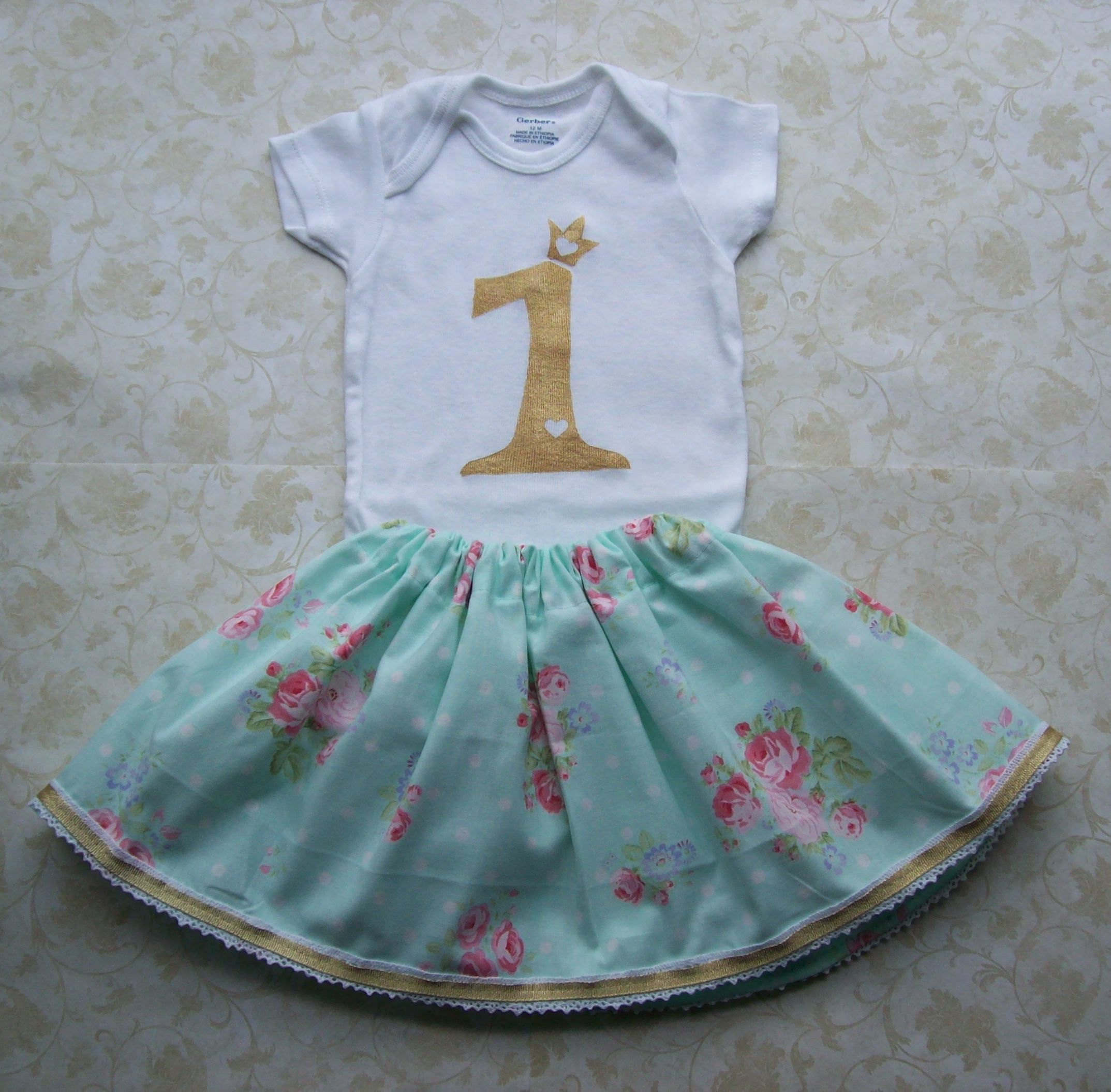 Baby girl first birthday outfit,1st birthday clothes,Gold,Cake smash ...