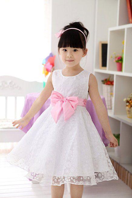 0b3748842 Vestido Branco Com Laço Rosa | Idéias para o Bebê | Dresses kids ...