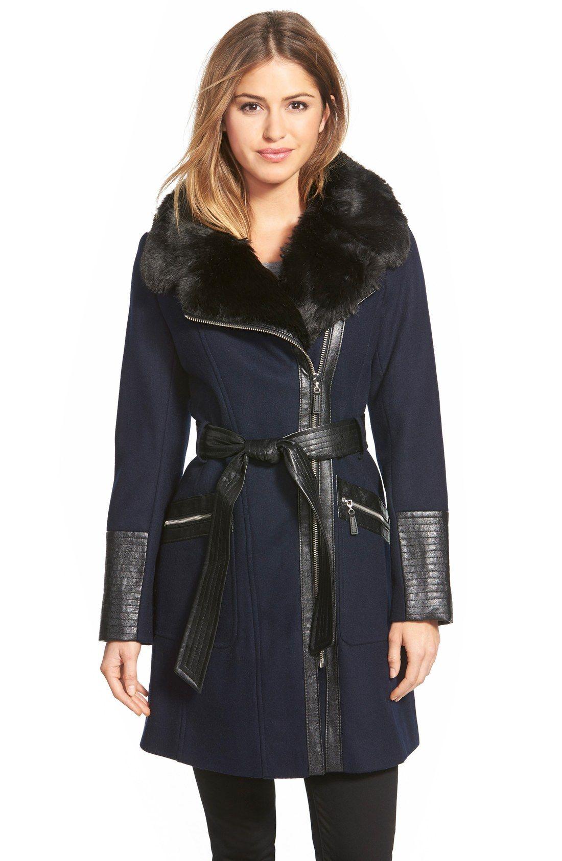adfb4b551d6 Via Spiga Faux Leather   Faux Fur Trim Belted Wool Blend Coat