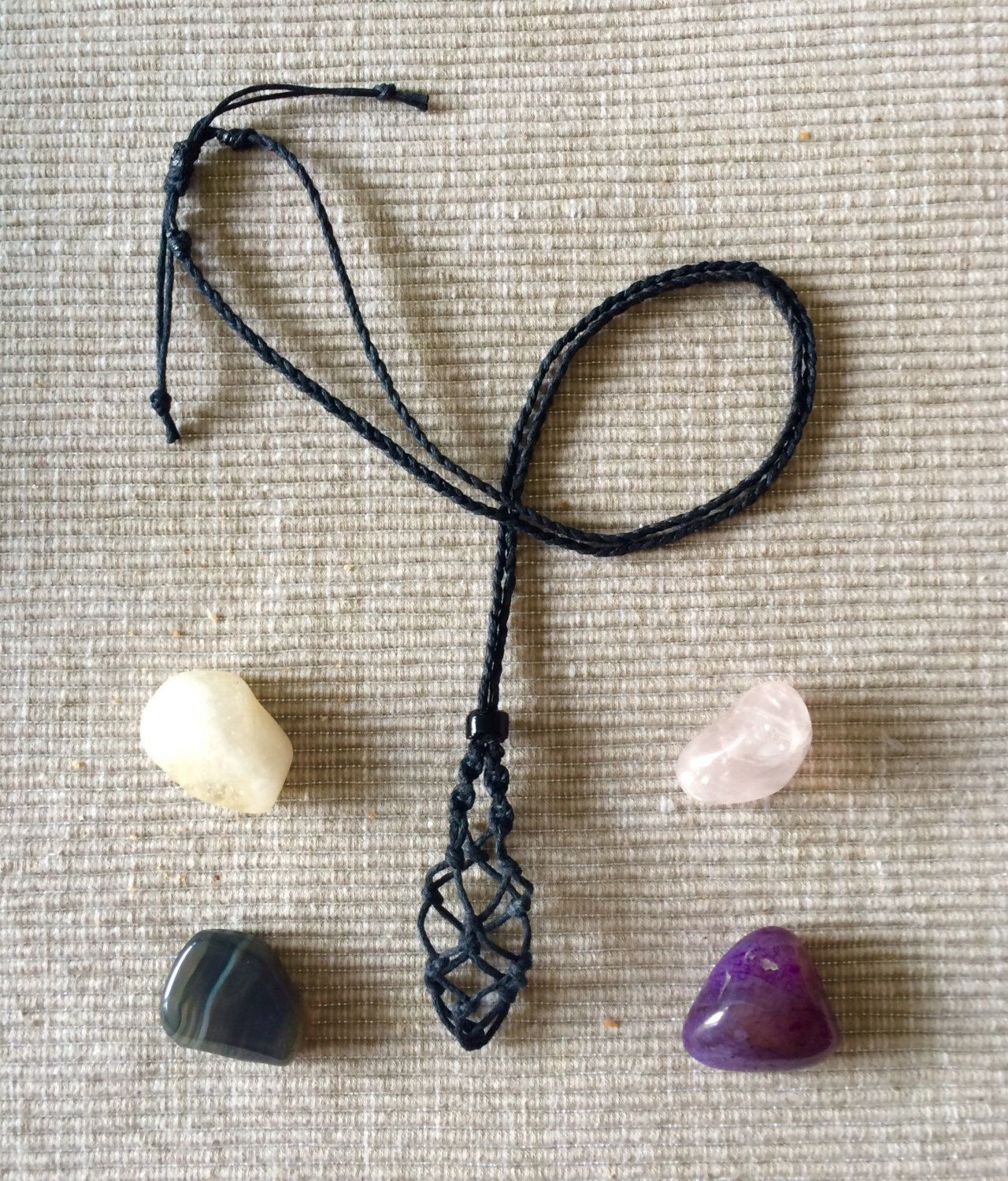Macrame Crystal Pouch Necklace interchangeable Blue Lace Agate Necklace Crystal Healing Jewelry