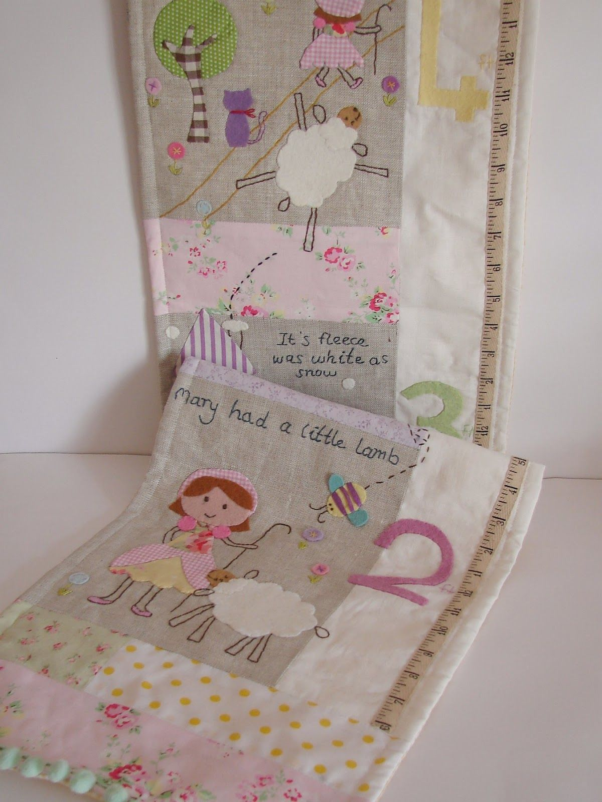 Oh....what a lovely work! ~ Fabric Growth chart Nursery rhyme by Roxy Creations ~