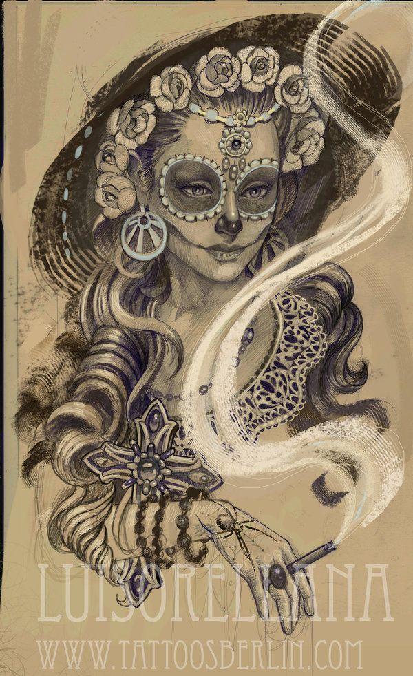 day of the dead girl tattoo by mojoncio.deviantart.com on @deviantART