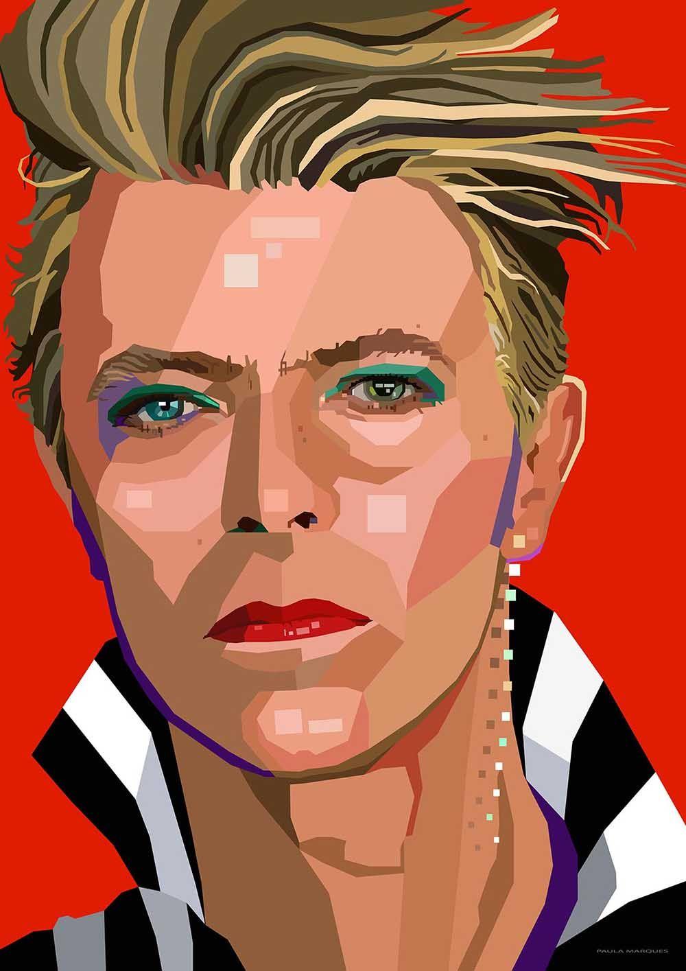 David Bowie (red) by Paula Marques (Adobe Illstrator CC ...