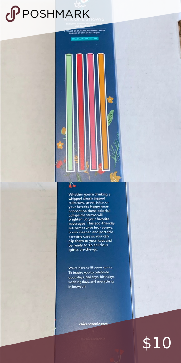 Photo of Chic & Tonic – Silicone Straws Includes four silicone straws, a brush cleaner, a…