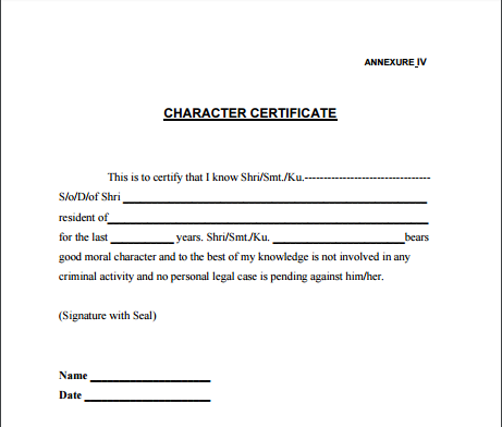 Character Certificate Formats   6 Free Word   PDF Samples