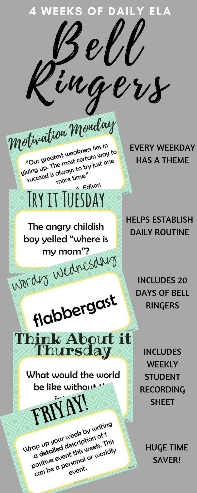 Classroom Warm Up Ideas ~ Daily bell ringers middle school english weeks of