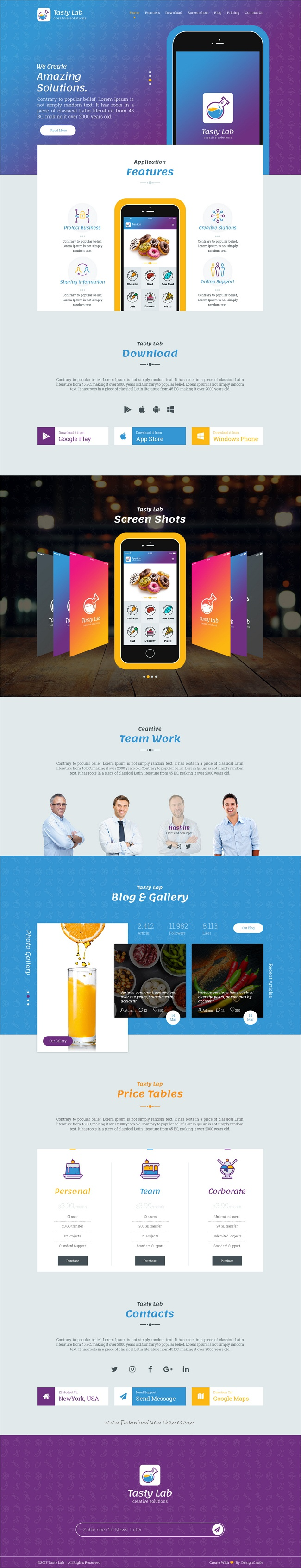 Tastylab is  clean and creative design psd template for mobile app landingpage website download now also application landing page applications rh pinterest
