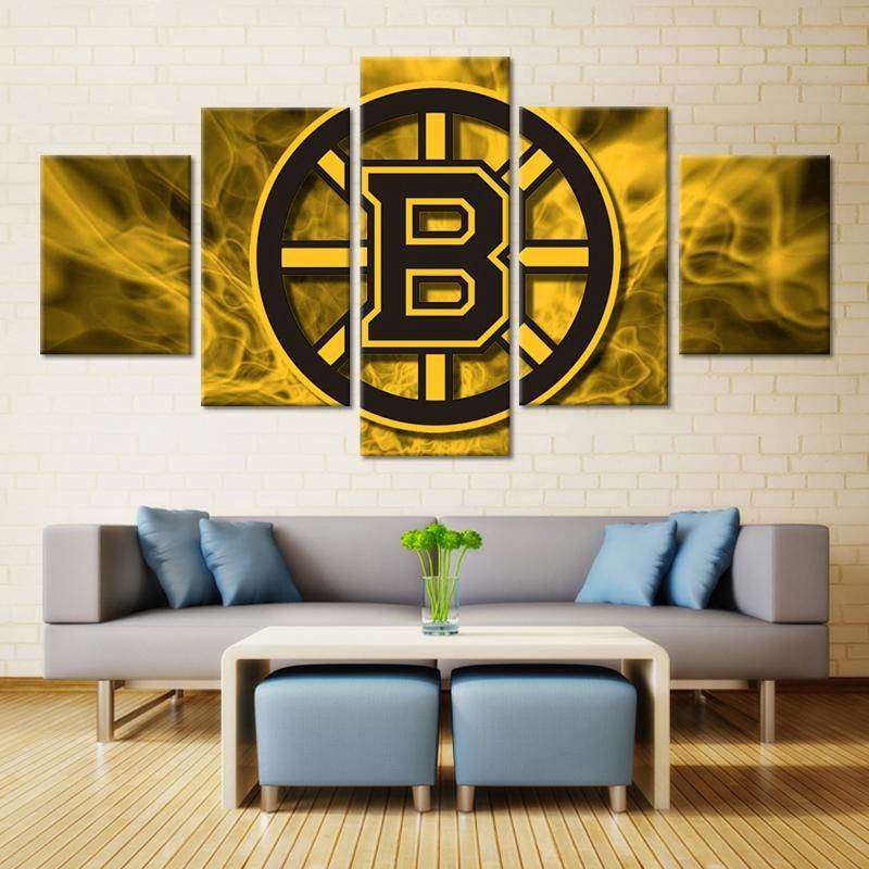 Boston Bruins NHL Hockey 5 Panel Canvas Wall Art Home Decor | Wall ...
