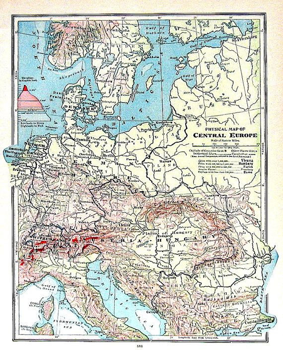 1906 Antique Physical Map of Central Europe including Germany