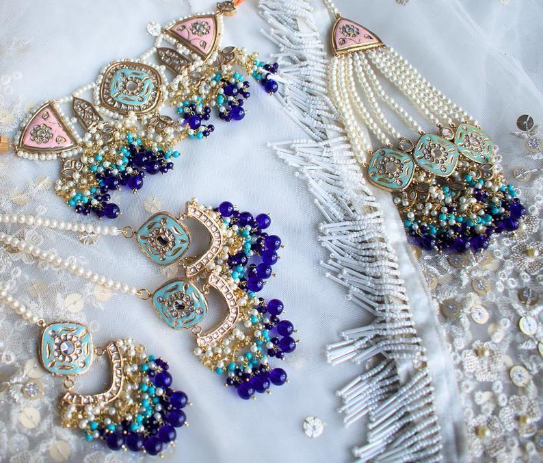 luxury jewellery set, pink, blue, kundan, gold pla