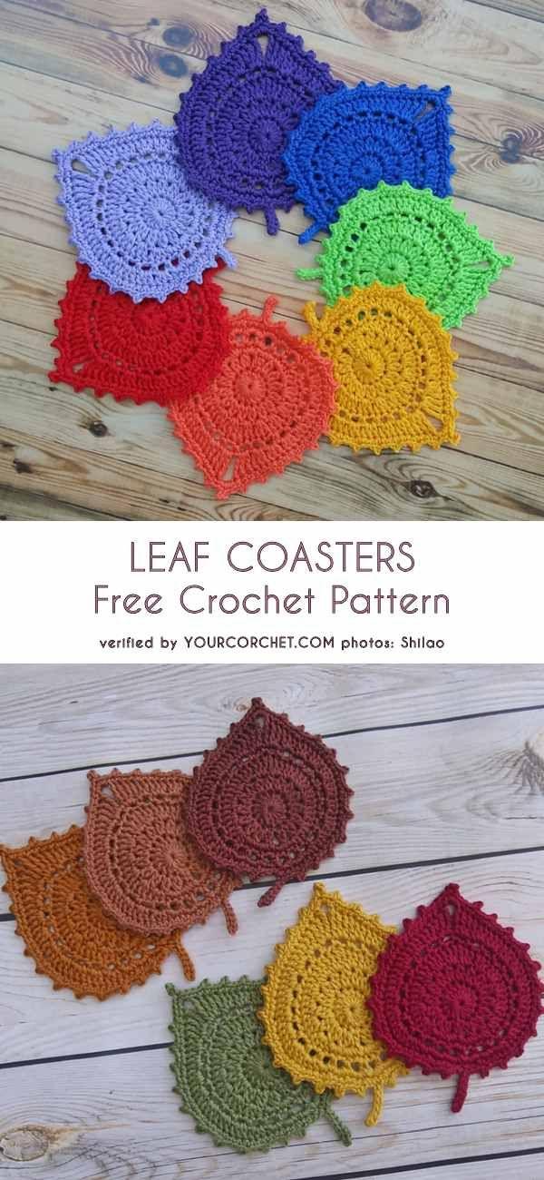 Leaf Coasters Free Crochet Pattern Crochet Knit Sew Pinterest