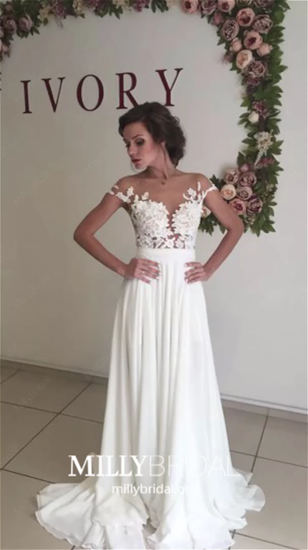 Long Wedding Dresses With Sleeves 2020, White Wedding Dresses With Slit, A Line Wedding Dresses Chiffon, Tulle Wedding Dresses Beautiful