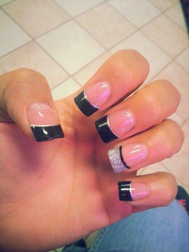 Black And Silver French Nails Black Nails Bridesmaids Nails Nail Designs