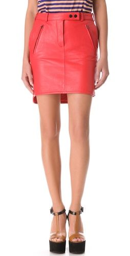 Carven Slash Pocket Leather Skirt | SHOPBOP