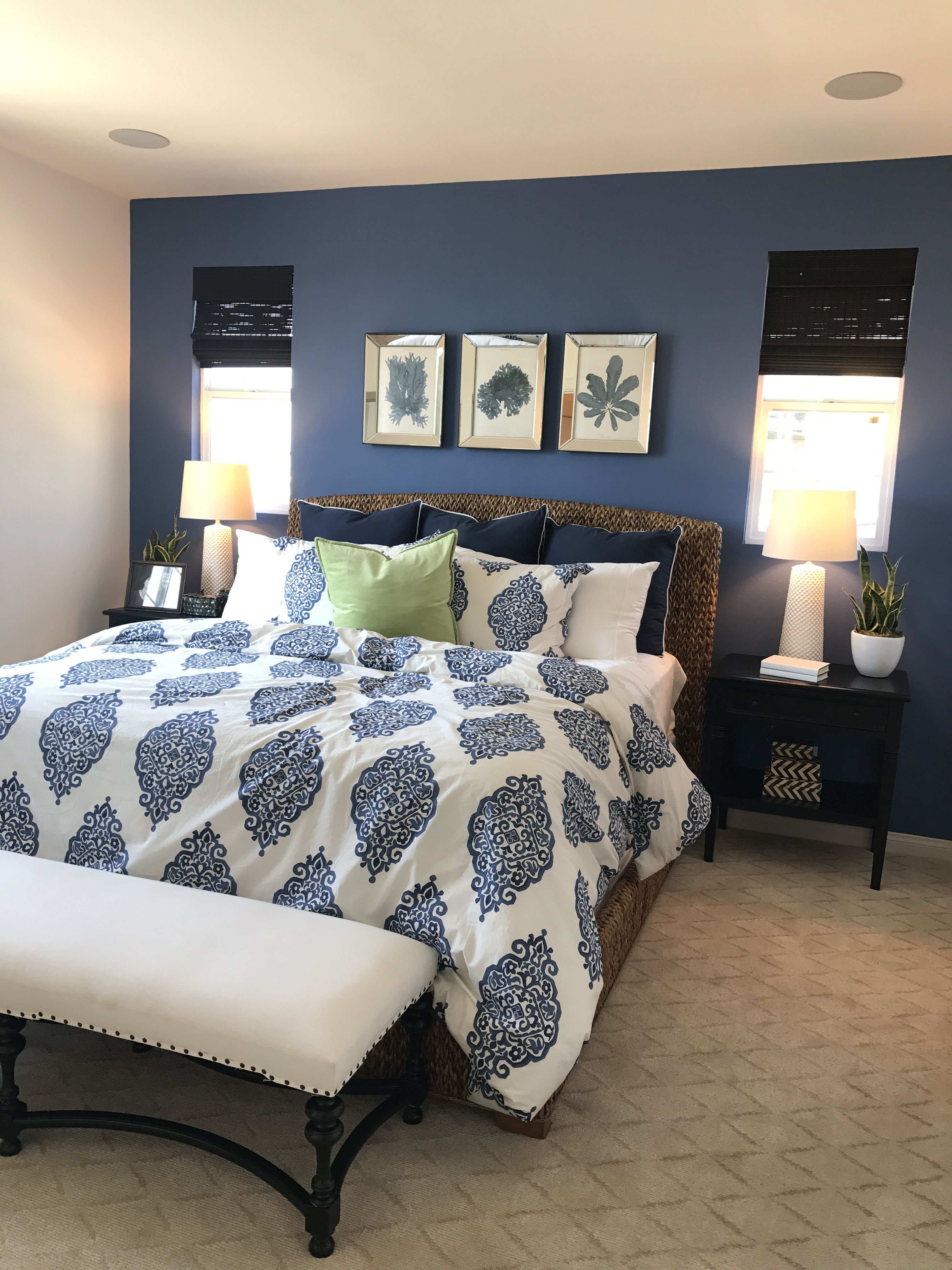 Dark blue accent wall Blue master bedroom, Blue accent