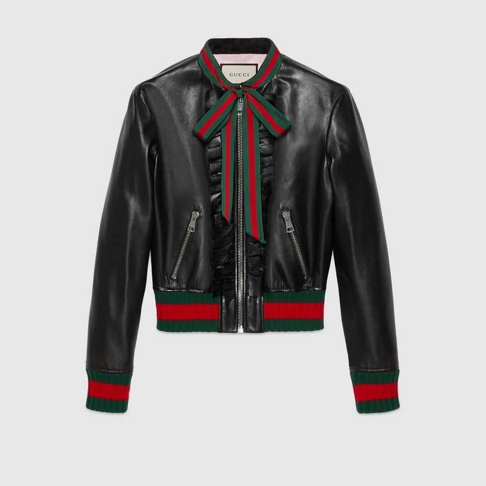 Pin By Crystal On Gucci Leather Bomber Jacket Leather Flight Jacket Real Leather Jacket [ 980 x 980 Pixel ]